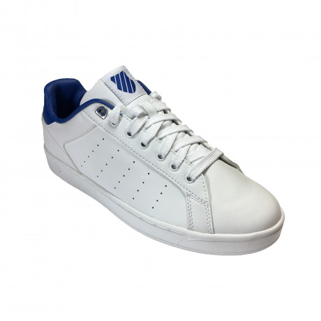 K-Swiss Men's Clean Court CMF Leather Shoes Trainers White/Black | Jean Scene