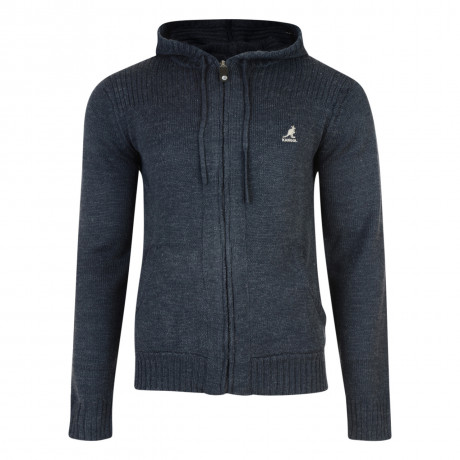 Kangol Thorburn Hooded Zip Knit Cardigan Navy Blue