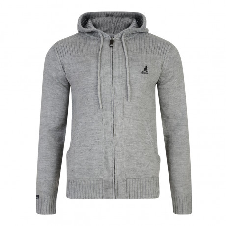 Kangol Thorburn Hooded Zip Knit Cardigan Top Grey Marl