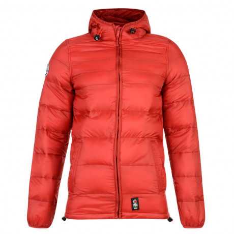 Crosshatch Rabble Hooded Padded Winter Puffer Jacket Samba Red