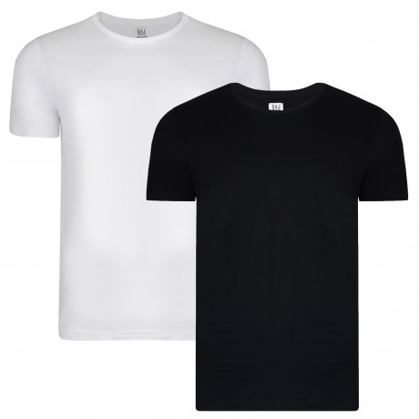 Smith & Jones Basic Vee Neck Cotton Plain T-Shirt 2 Pack Black/White | Jean Scene