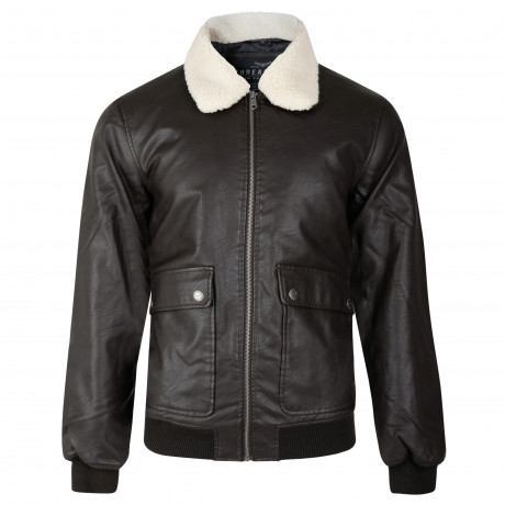 Threadbare Synthetic Redwing Faux Fur Aviator Leather Jacket Brown | Jean Scene