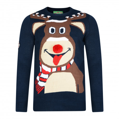3D Xmas Novelty Jumper Crew Neck Christmas Knit Reindeer Face Navy   Jean Scene