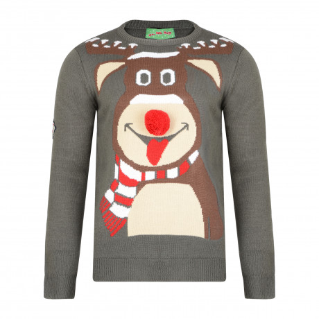 3D Xmas Novelty Jumper Crew Neck Christmas Knit Reindeer Face Charcoal | Jean Scene
