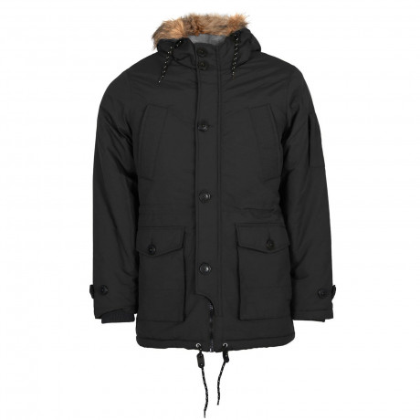 Threadbare Faux Fur Winston Walker Parka Jacket Black | Jean Scene