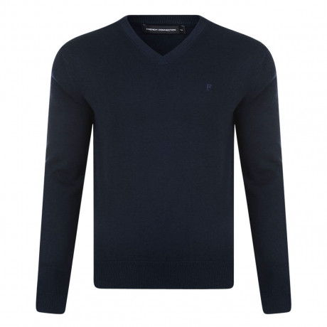 French Connection V-Neck Cotton Jumper Marine Blue | Jean Scene