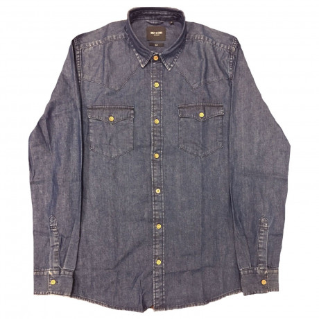Only & Sons Originals Slim Denim Long Sleeve Shirt Dark Blue | Jean Scene