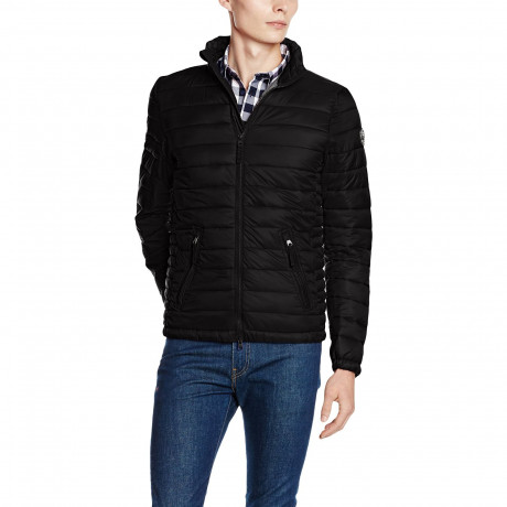Crosshatch Quilted Padded Puffer Jacket Black | Jean Scene