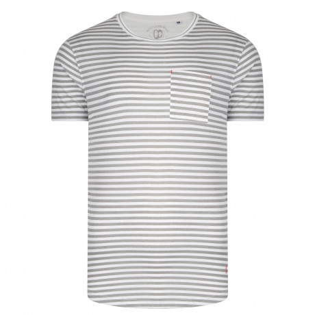 Ringspun Shifty Crew Neck Cotton Stripe T-shirt White/Grey | Jean Scene
