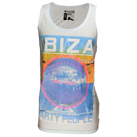Soul Star Printed Summer Vest Top White