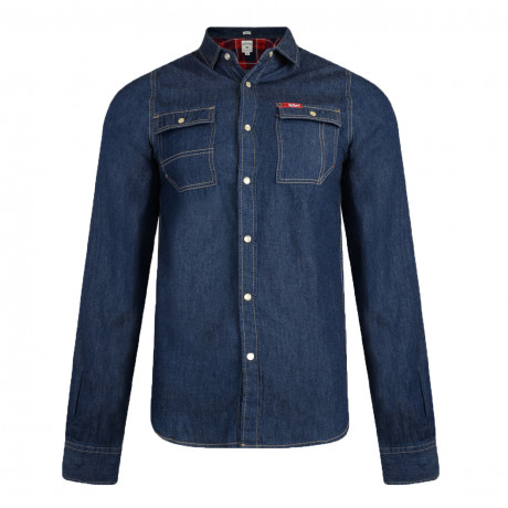 Lee Cooper Men's Long Sleeve Stanton Denim Shirt Dark Wash | Jean Scene