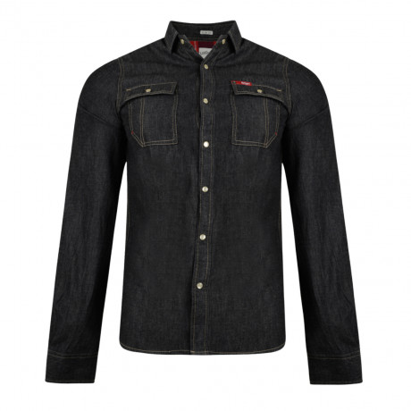 Lee Cooper Men's Long Sleeve Stanton Denim Shirt Washed Black | Jean Scene