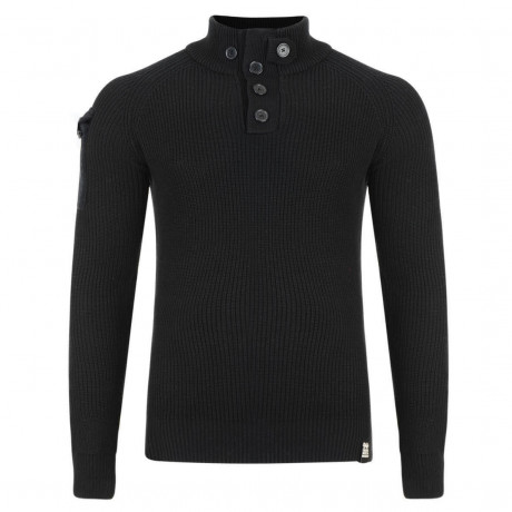 Crosshatch Button Neck Bracken Knitted Jumper Black