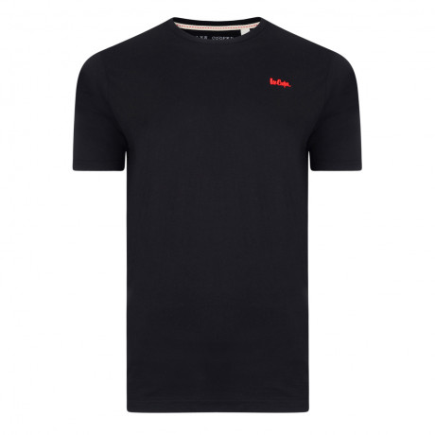 Lee Cooper Basic Crew Neck Cotton Plain T-shirt Black | Jean Scene