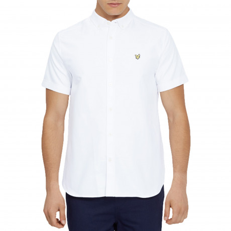 Lyle & Scott Oxford Shirt Short Sleeve White | Jean Scene