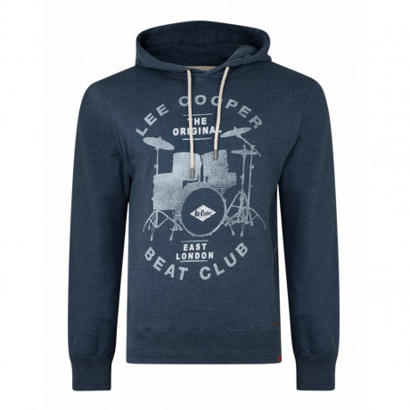 Lee Cooper Overhead Men's Swayland Hoodie Dark Denim | Jean Scene
