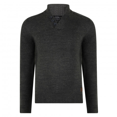 Threadbare Tanner Button V Neck Wool Blend Jumper Charcoal Marl | Jean Scene