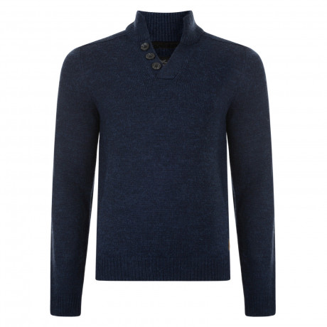 Threadbare Tanner Button V Neck Wool Blend Jumper Indigo Marl | Jean Scene