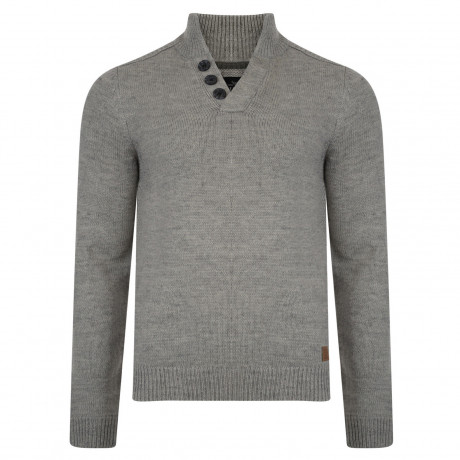 Threadbare Tanner Button V Neck Wool Blend Jumper Pigeon Marl | Jean Scene