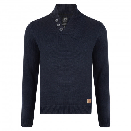 Threadbare Tanner Button V Neck Wool Blend Jumper Rich Navy | Jean Scene