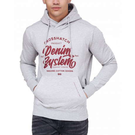 Crosshatch Overhead Men's Taringa Hoodie Light Grey | Jean Scene