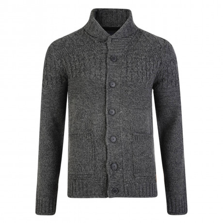 Threadbare Lille Cable Wool Blend Cardigan Charcoal