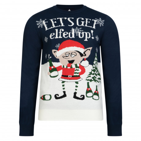 Christmas Jumper Funny Crew Neck Elfed Up French Navy | Jean Scene