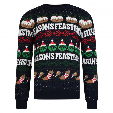 Christmas Jumper Unique Crew Neck Season Feastings Rich Navy | Jean Scene