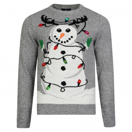 Light Up Novelty Christmas Jumper Crew Neck LED Tangled Snowman Mid Grey | Jean Scene