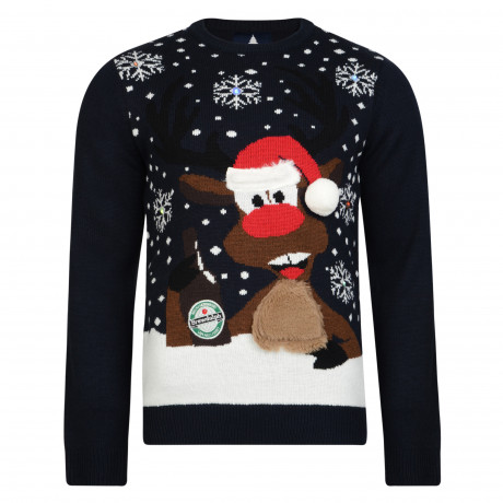 Light Up Novelty Christmas Jumper Crew Neck LED Brudolph Deep Navy | Jean Scene