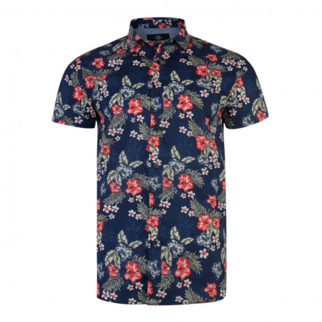 Threadbare KMU105 Print Shirt Short Sleeve Multi Blue | Jean Scene