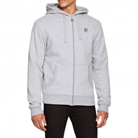 Fila Men's Tommaso Logo Zip Up Hoodie Mid Grey Marl | Jean Scene
