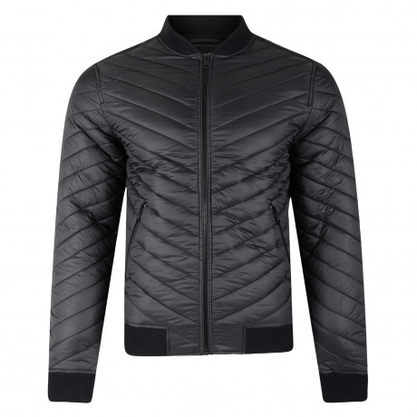 Threadbare Trogan Angled Quilted Jacket Black | Jean Scene
