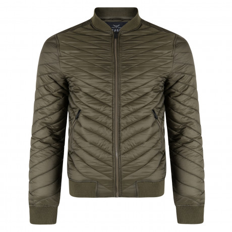 Threadbare Trogan Angled Quilted Jacket Khaki | Jean Scene