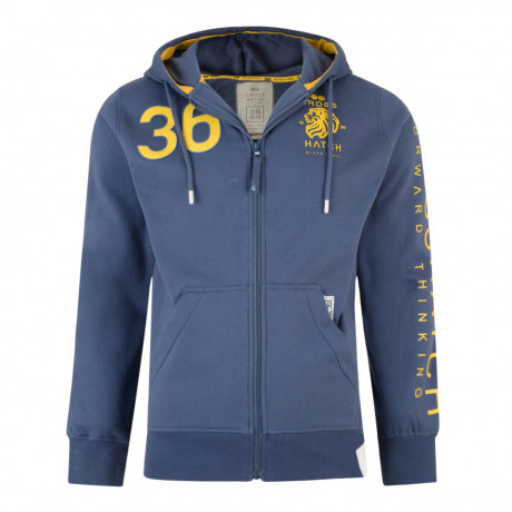 Crosshatch Trojans Men's Zip Up Hoodie Vintage Blue | Jean Scene