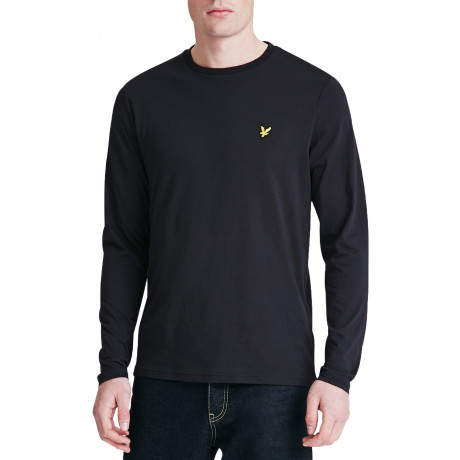 Lyle & Scott Crew Neck Long Sleeve T-Shirt True Black | Jean Scene