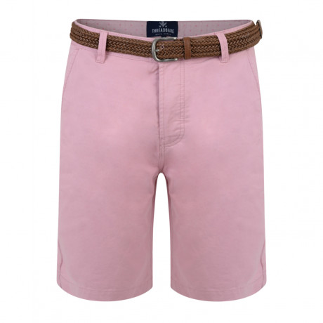 Threadbare Belted Cotton Summer Chino Shorts Dusty Pink | Jean Scene