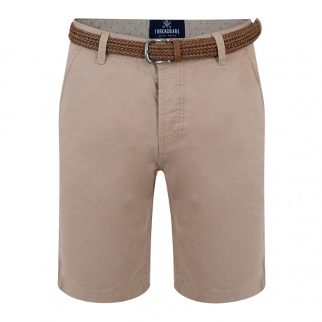 Threadbare Belted Cotton Summer Chino Shorts Stone | Jean Scene