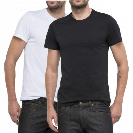 Lee Casual Crew Neck Two Pack T-shirt Black/White | Jean Scene
