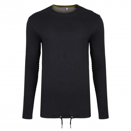 Ringspun Twiss Plain T-Shirt Long Sleeve Black | Jean Scene