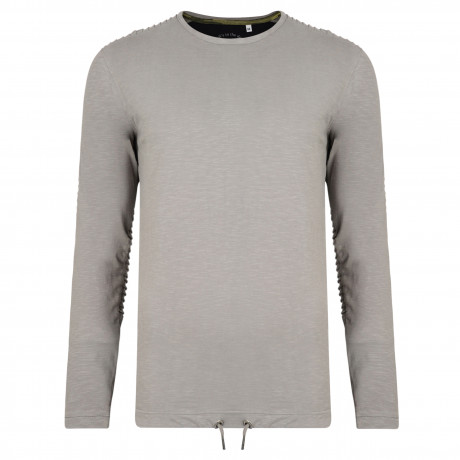 Ringspun Twiss Plain T-Shirt Long Sleeve Grey | Jean Scene
