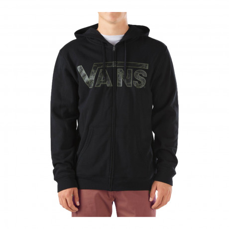 VANS Men's Classic Logo Zip Up Hooded Sweatshirt Black Indigo Blue | Jean Scene