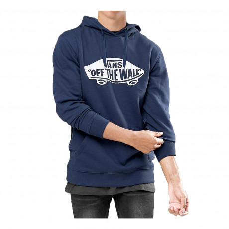 VANS Men's Off The Wall Logo Pullover Hooded Sweatshirt Dress Blue | Jean Scene