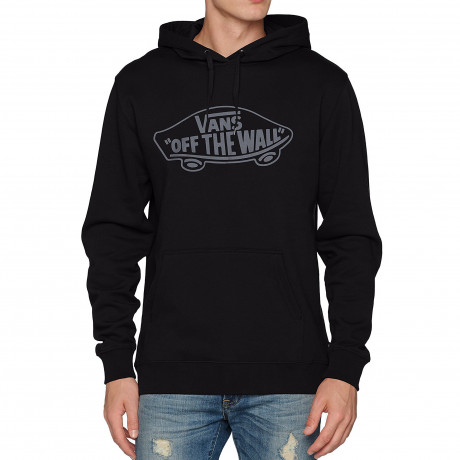 VANS Men's Off The Wall Logo Pullover Hooded Sweatshirt Black Pewter | Jean Scene