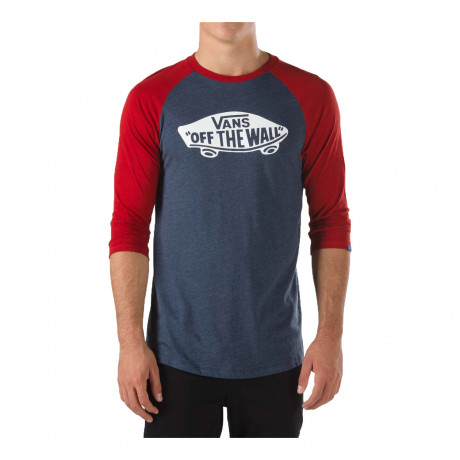 Vans Off The Wall Crew Neck Raglan T-shirt Navy Red | Jean Scene