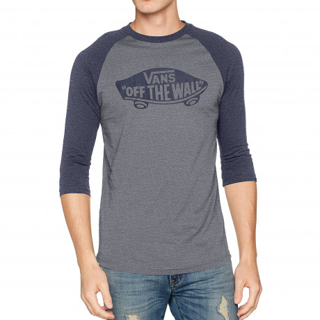 Vans Crew Neck Print Raglan T-shirt Heather Grey Navy | Jean Scene
