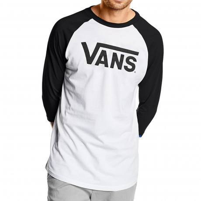 Vans Classic Crew Neck Raglan T-shirt White Black | Jean Scene