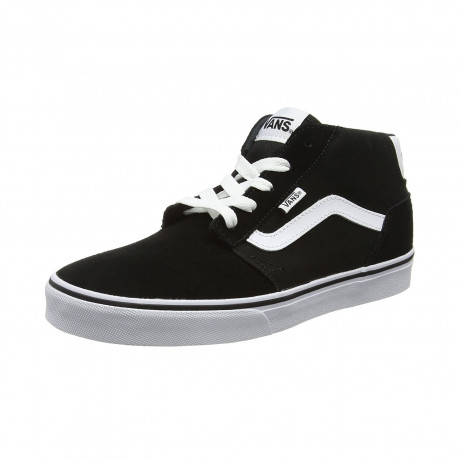 Vans Men's Chapman Mid Stripe Suede Canvas Shoes Trainers Black White | Jean Scene