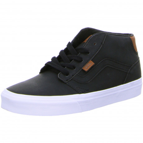 Vans Men's Chapman Mid Stripe Leather Shoes Trainers Black White | Jean Scene