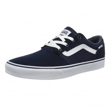 Vans Men's Chapman Low Stripe Suede Canvas Shoes Trainers Dress Blue | Jean Scene